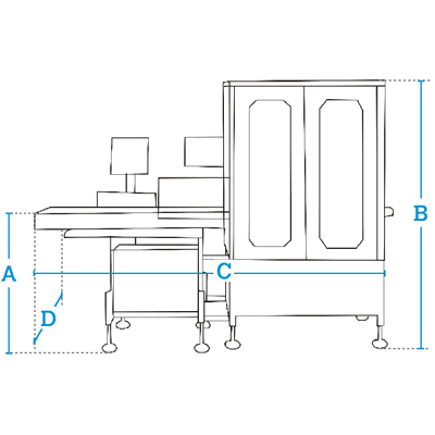Размеры Dibal СLS-4 000 этикетировочная машина служит для взвешивания и автоматического маркировки изделий С-образной этикеткой (обворачивание изделия с трех сторон).